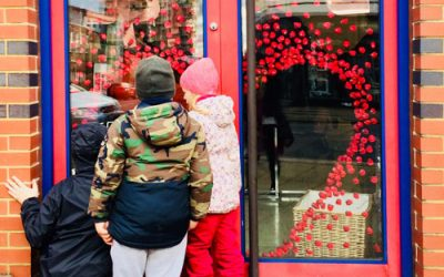 Shop window decoration for the Salvation Army